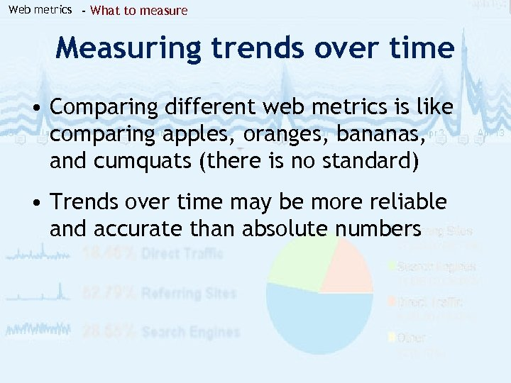 Web metrics - What to measure Measuring trends over time • Comparing different web