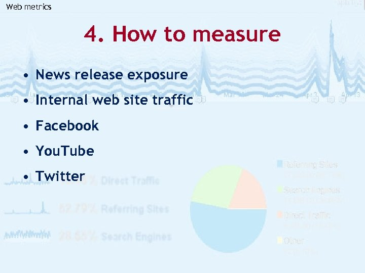 Web metrics 4. How to measure • News release exposure • Internal web site