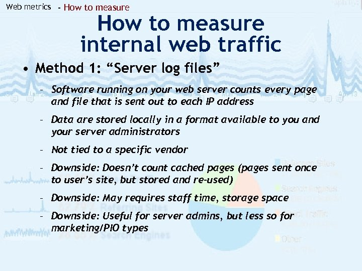 "Web metrics - How to measure internal web traffic • Method 1: ""Server log"