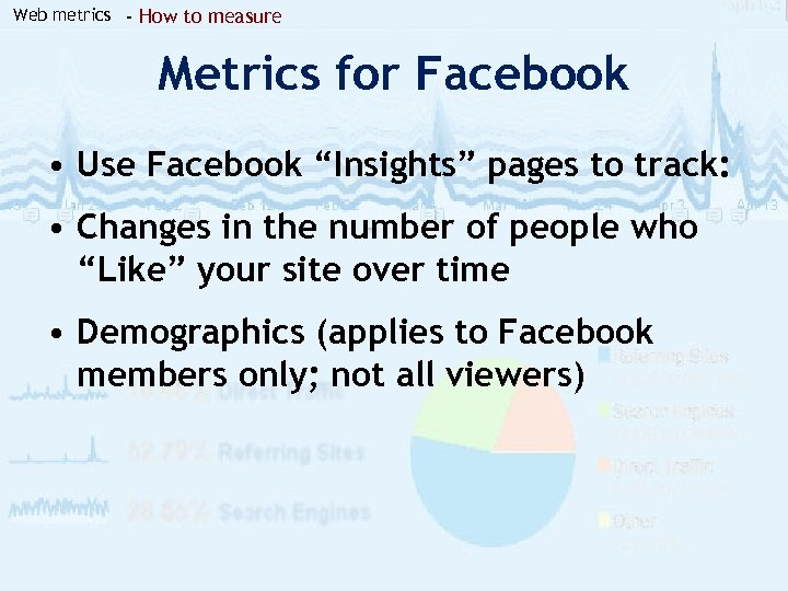"Web metrics - How to measure Metrics for Facebook • Use Facebook ""Insights"" pages"