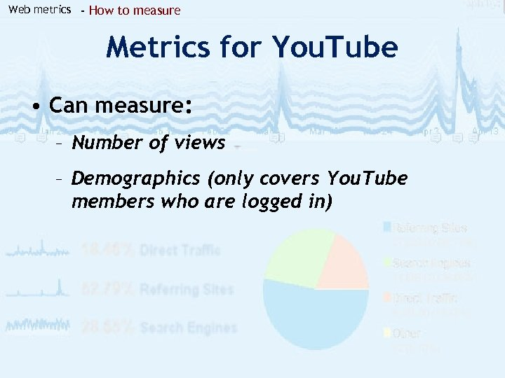 Web metrics - How to measure Metrics for You. Tube • Can measure: –