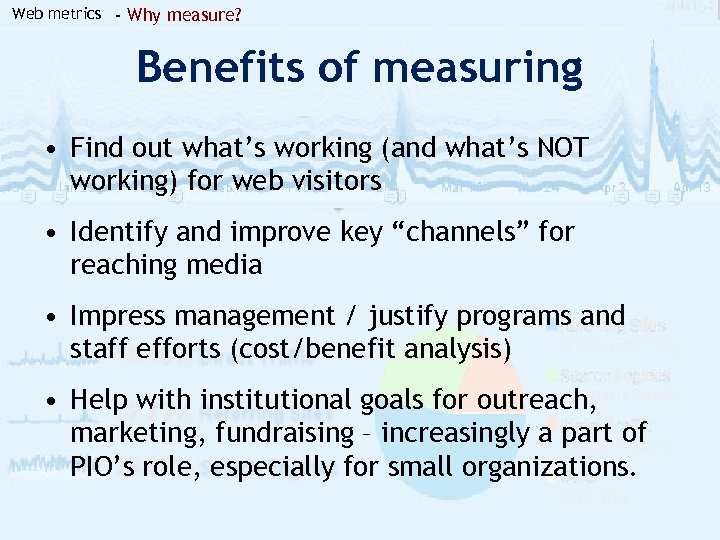 Web metrics - Why measure? Benefits of measuring • Find out what's working (and
