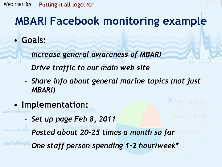 Web metrics - Putting it all together MBARI Facebook monitoring example • Goals: –