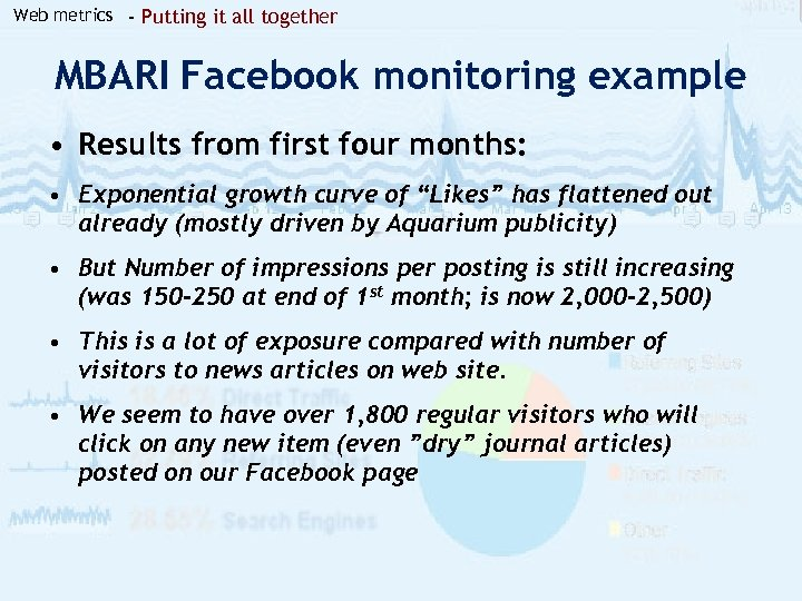 Web metrics - Putting it all together MBARI Facebook monitoring example • Results from