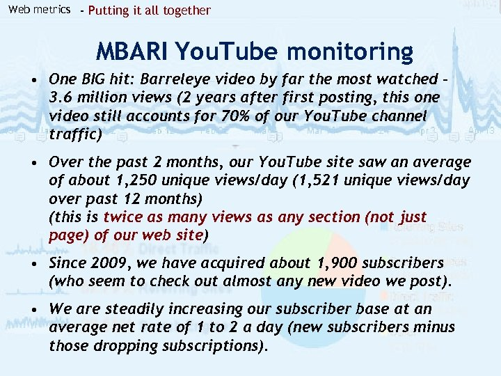 Web metrics - Putting it all together MBARI You. Tube monitoring • One BIG
