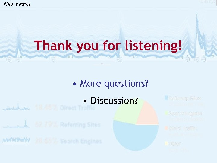 Web metrics Thank you for listening! • More questions? • Discussion?