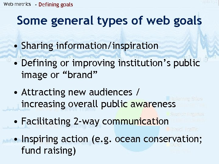 Web metrics - Defining goals Some general types of web goals • Sharing information/inspiration