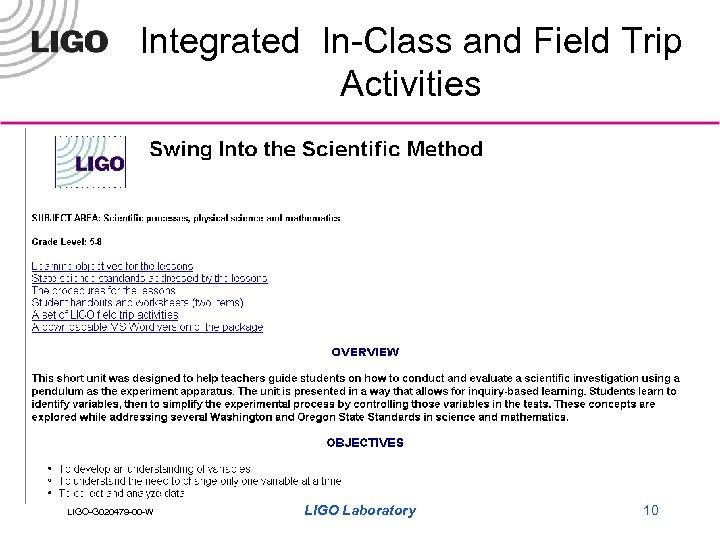 Integrated In-Class and Field Trip Activities LIGO-G 020479 -00 -W LIGO Laboratory 10