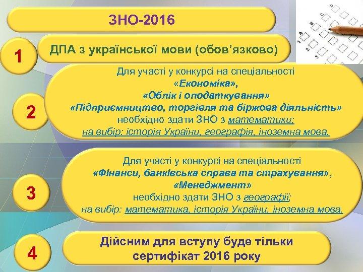ЗНО-2016 ДПА з української мови (обов'язково) 1 2 3 4 Для участі у конкурсі