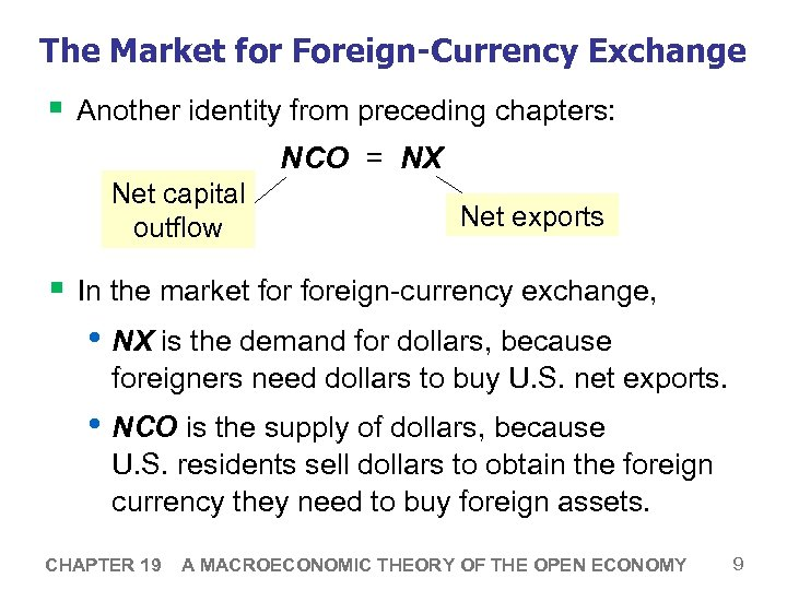 The Market for Foreign-Currency Exchange § Another identity from preceding chapters: NCO = NX