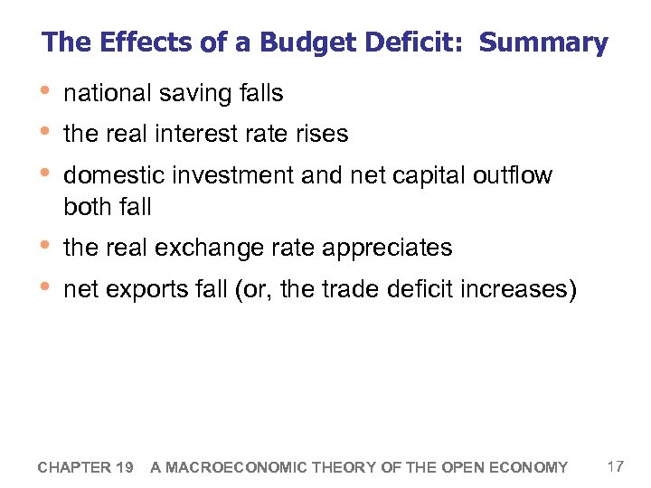 The Effects of a Budget Deficit: Summary • • • national saving falls •