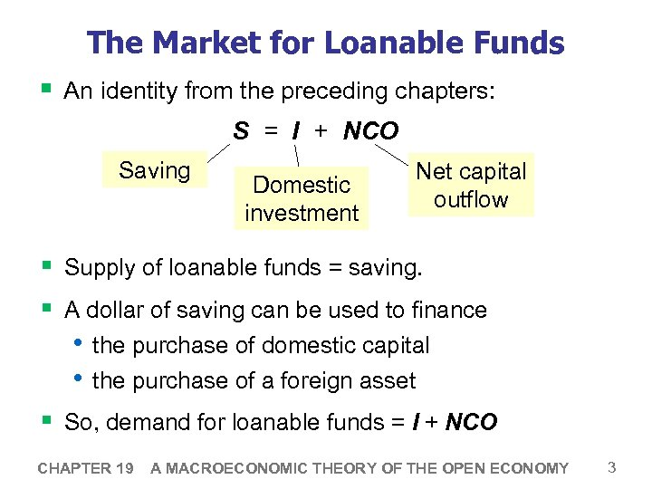 The Market for Loanable Funds § An identity from the preceding chapters: S =
