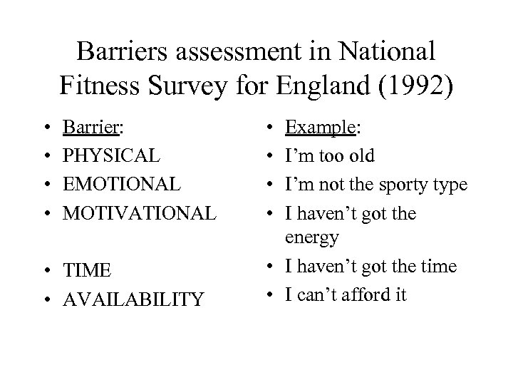 Barriers assessment in National Fitness Survey for England (1992) • • Barrier: PHYSICAL EMOTIONAL