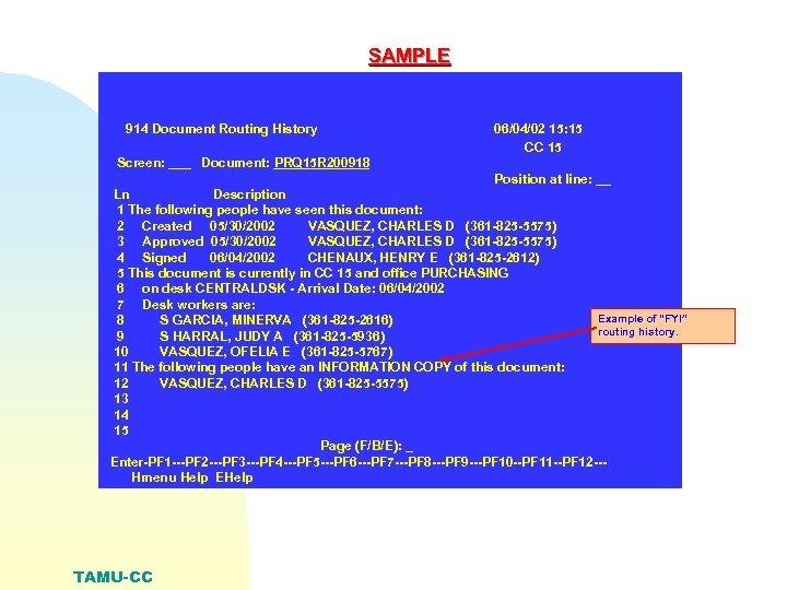 SAMPLE 914 Document Routing History 06/04/02 15: 15 CC 15 Screen: ___ Document: PRQ