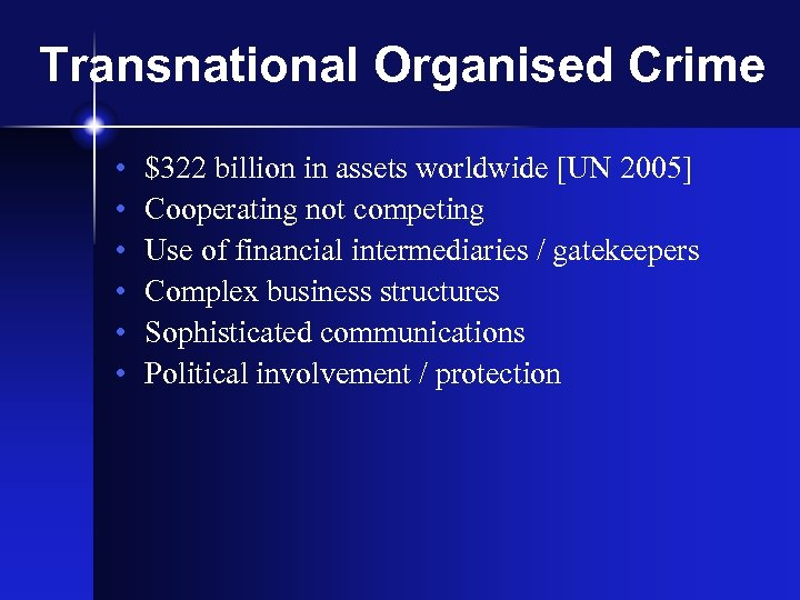 Transnational Organised Crime • • • $322 billion in assets worldwide [UN 2005] Cooperating
