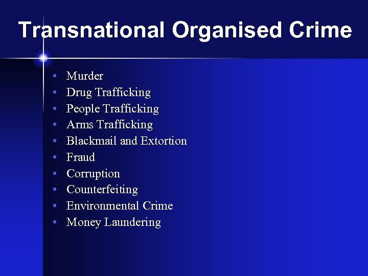 Transnational Organised Crime • • • Murder Drug Trafficking People Trafficking Arms Trafficking Blackmail