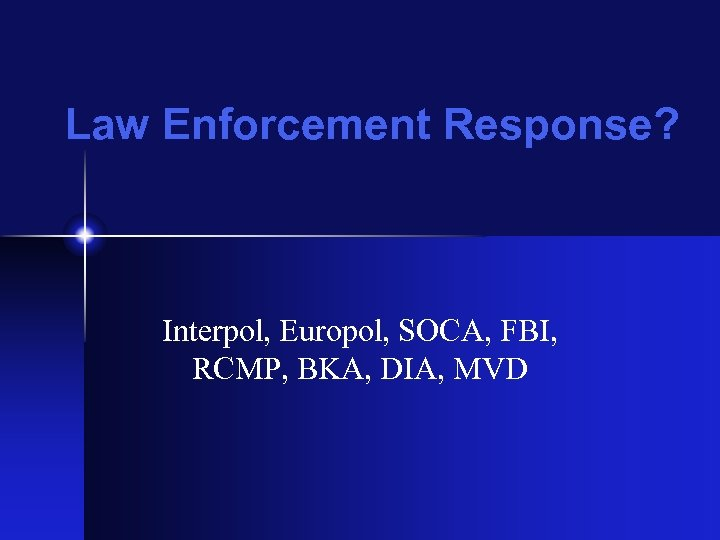 Law Enforcement Response? Interpol, Europol, SOCA, FBI, RCMP, BKA, DIA, MVD