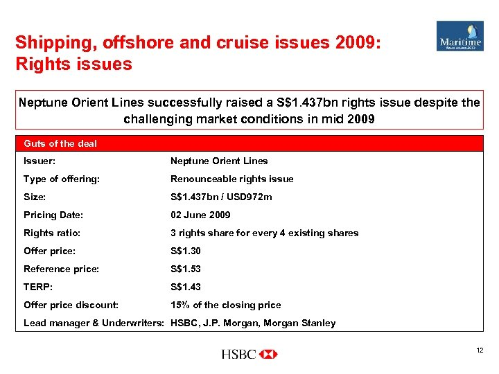Shipping, offshore and cruise issues 2009: Rights issues Neptune Orient Lines successfully raised a