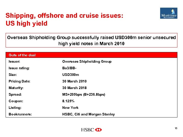 Shipping, offshore and cruise issues: US high yield Overseas Shipholding Group successfully raised USD
