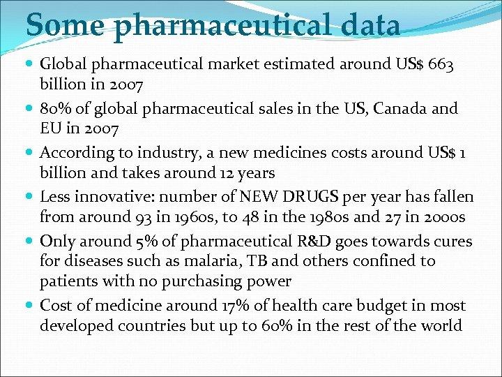 Some pharmaceutical data Global pharmaceutical market estimated around US$ 663 billion in 2007 80%