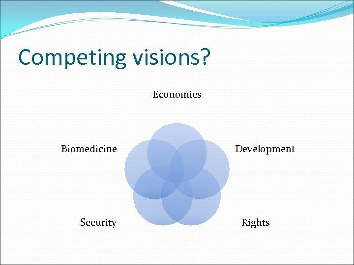 Competing visions? Economics Biomedicine Security Development Rights
