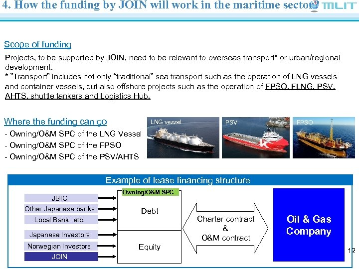 4. How the funding by JOIN will work in the maritime sector? Scope of
