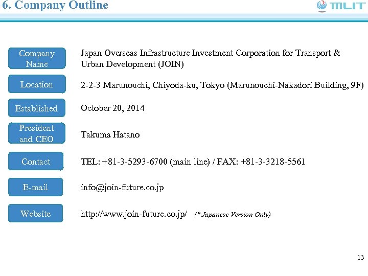 6. Company Outline Company Name Japan Overseas Infrastructure Investment Corporation for Transport & Urban
