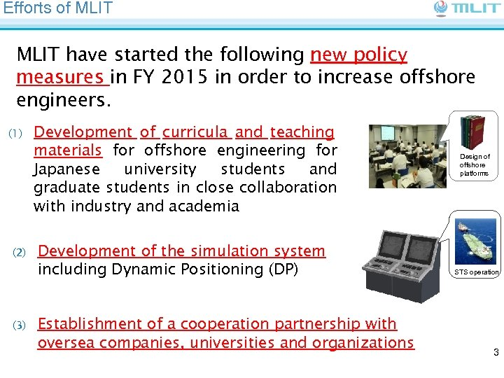 Efforts of MLIT have started the following new policy measures in FY 2015 in
