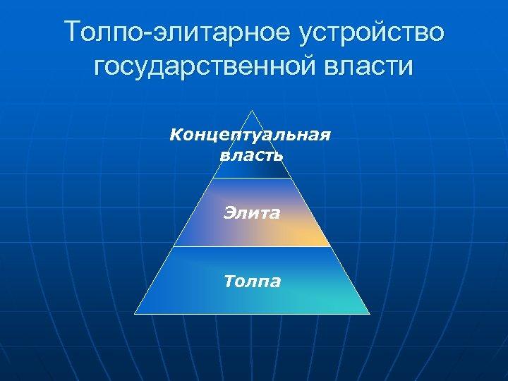 Толпо-элитарное устройство государственной власти Концептуальная власть Элита Толпа