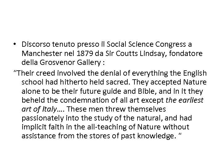• Discorso tenuto presso il Social Science Congress a Manchester nel 1879 da