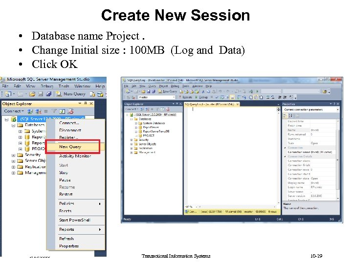 Create New Session • Database name Project. • Change Initial size : 100 MB