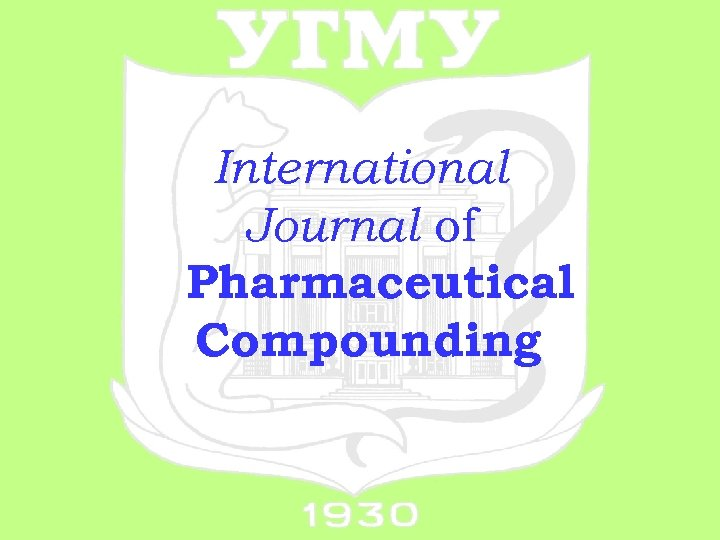 International Journal of Pharmaceutical Compounding