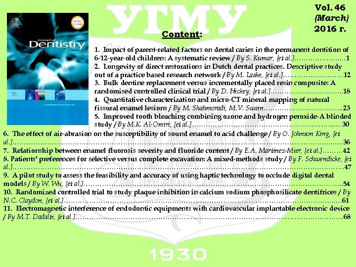 Content: Vol. 46 (March) 2016 г. 1. Impact of parent-related factors on dental caries