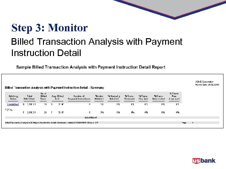 Step 3: Monitor Billed Transaction Analysis with Payment Instruction Detail