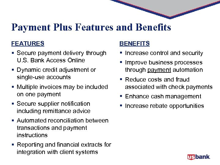 Payment Plus Features and Benefits FEATURES BENEFITS § Secure payment delivery through U. S.