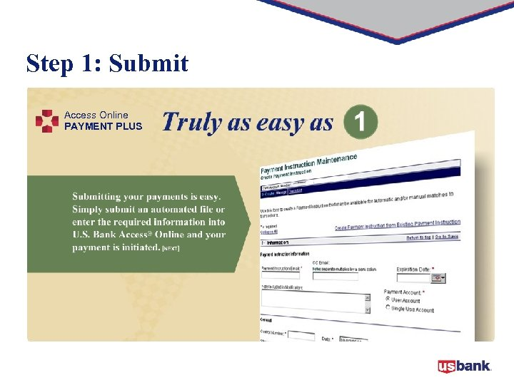 Step 1: Submit Access Online PAYMENT PLUS
