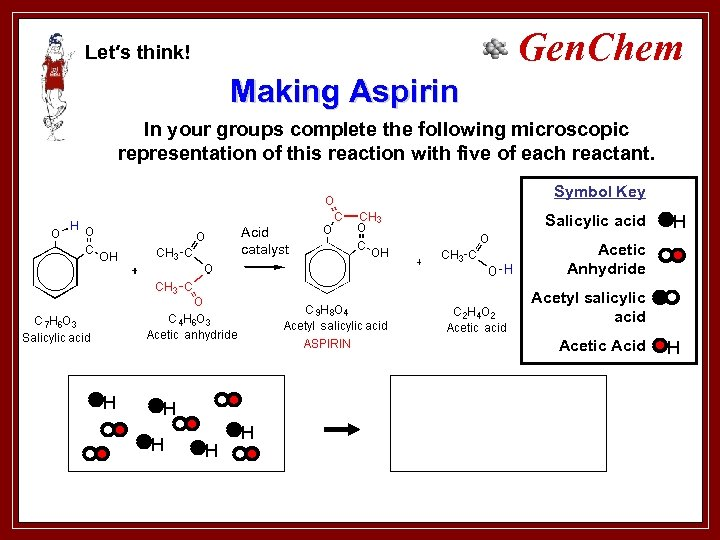 Gen. Chem Let′s think! Making Aspirin In your groups complete the following microscopic representation