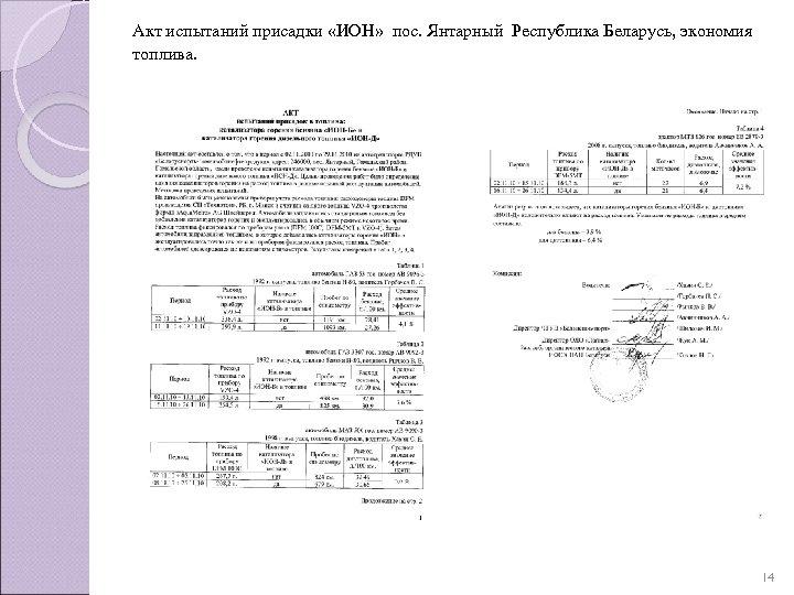 Акт испытаний присадки «ИОН» пос. Янтарный Республика Беларусь, экономия топлива. 14