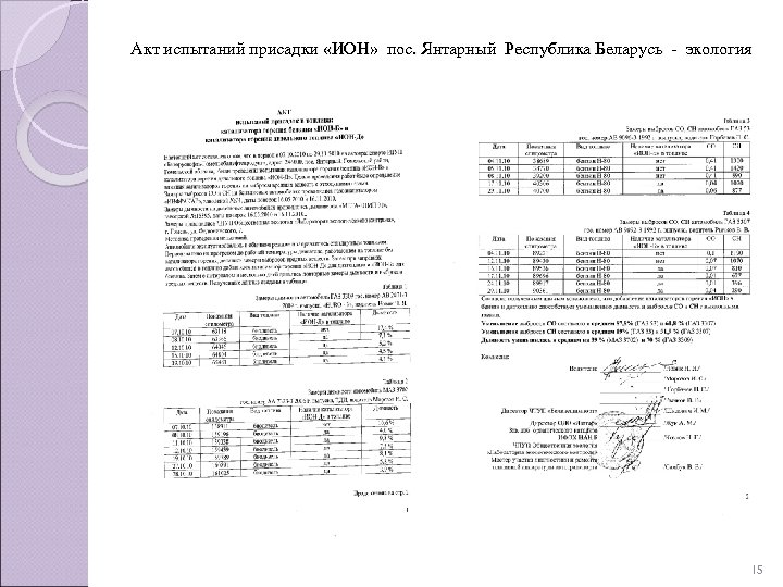 Акт испытаний присадки «ИОН» пос. Янтарный Республика Беларусь - экология 15