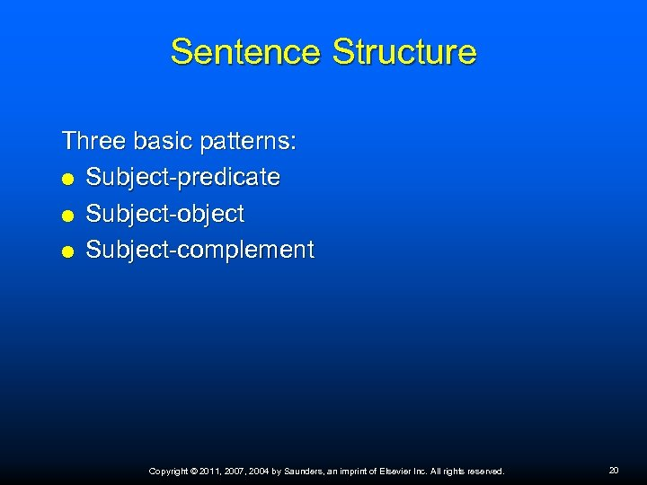 Sentence Structure Three basic patterns: Subject-predicate Subject-object Subject-complement Copyright © 2011, 2007, 2004 by