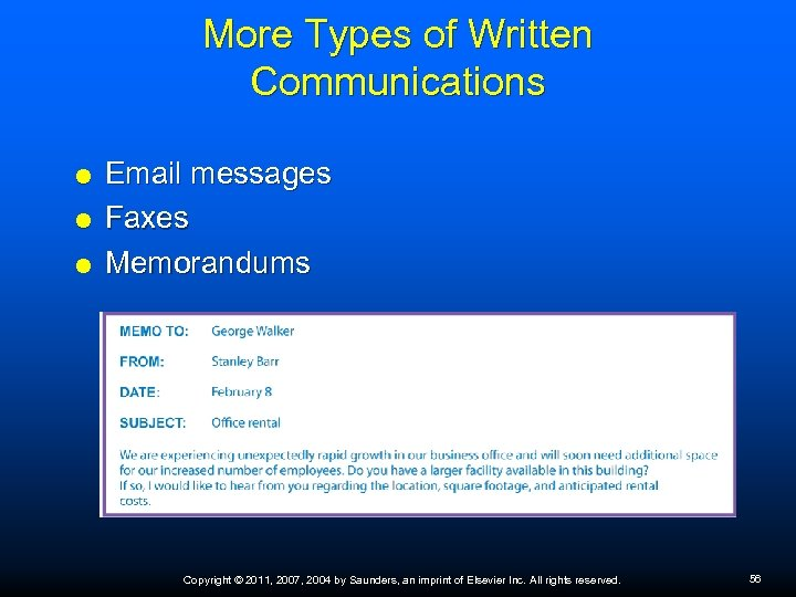 More Types of Written Communications Email messages Faxes Memorandums Copyright © 2011, 2007, 2004