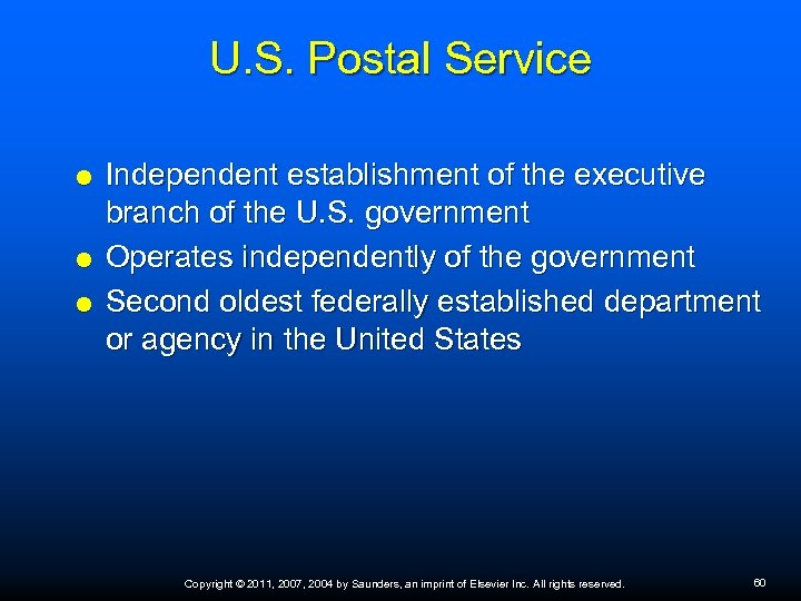 U. S. Postal Service Independent establishment of the executive branch of the U. S.