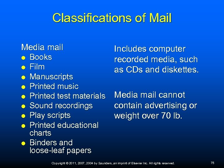 Classifications of Mail Media mail Books Film Manuscripts Printed music Printed test materials Sound