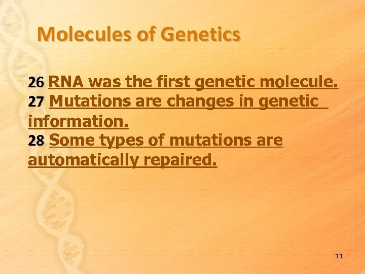 Molecules of Genetics 26 RNA was the first genetic molecule. 27 Mutations are changes