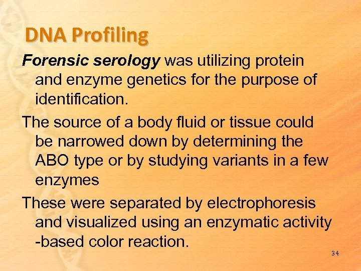 DNA Profiling Forensic serology was utilizing protein and enzyme genetics for the purpose of