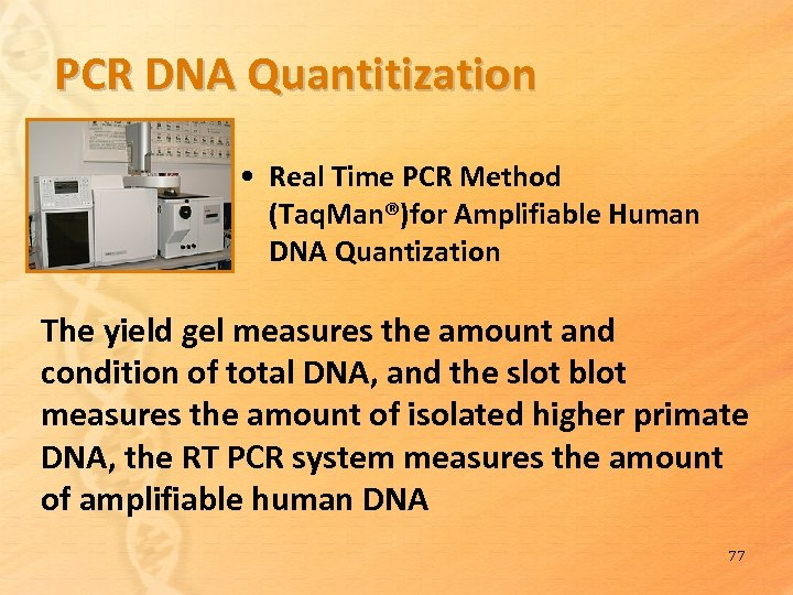 PCR DNA Quantitization • Real Time PCR Method (Taq. Man®)for Amplifiable Human DNA Quantization