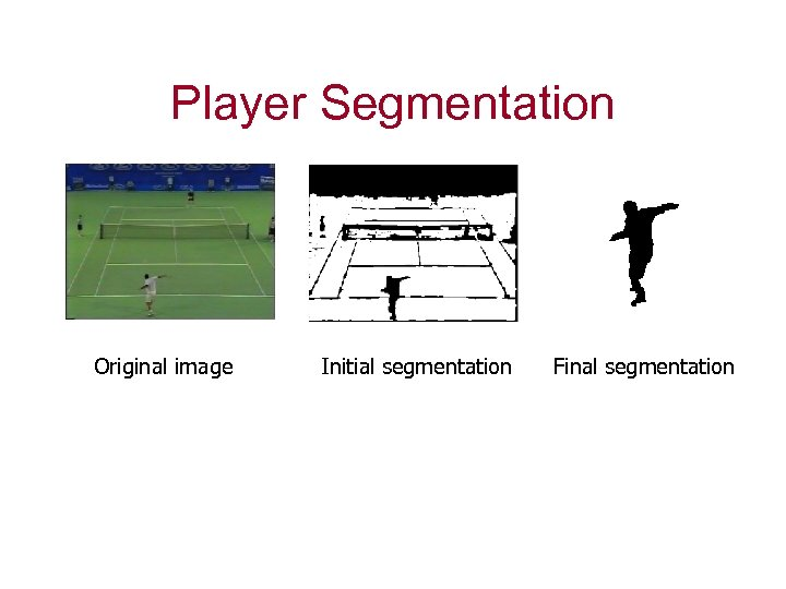 Player Segmentation Original image Initial segmentation Final segmentation