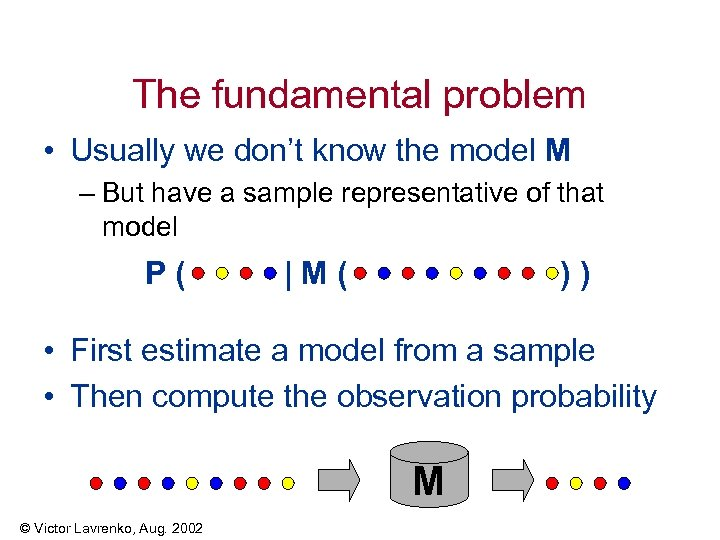 The fundamental problem • Usually we don't know the model M – But have