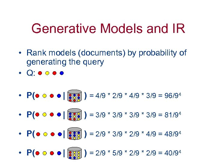 Generative Models and IR • Rank models (documents) by probability of generating the query
