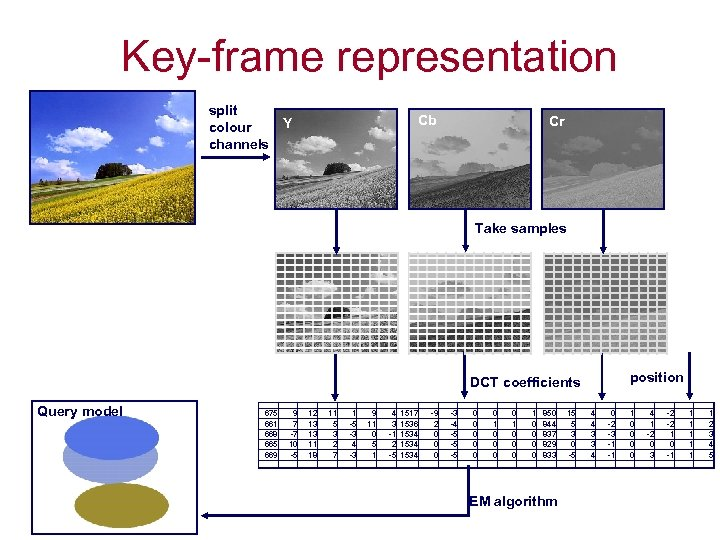 Key-frame representation split Y colour channels Cb Cr Take samples position DCT coefficients Query